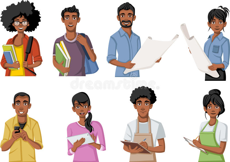 Group of cartoon black people. stock illustration