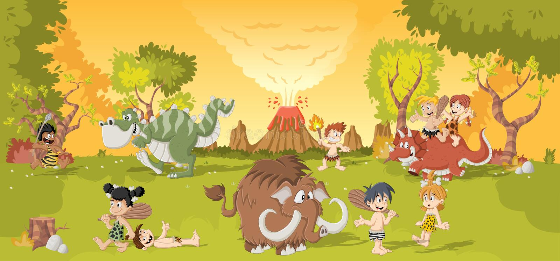 Group of cartoon cavemen on forest vector illustration
