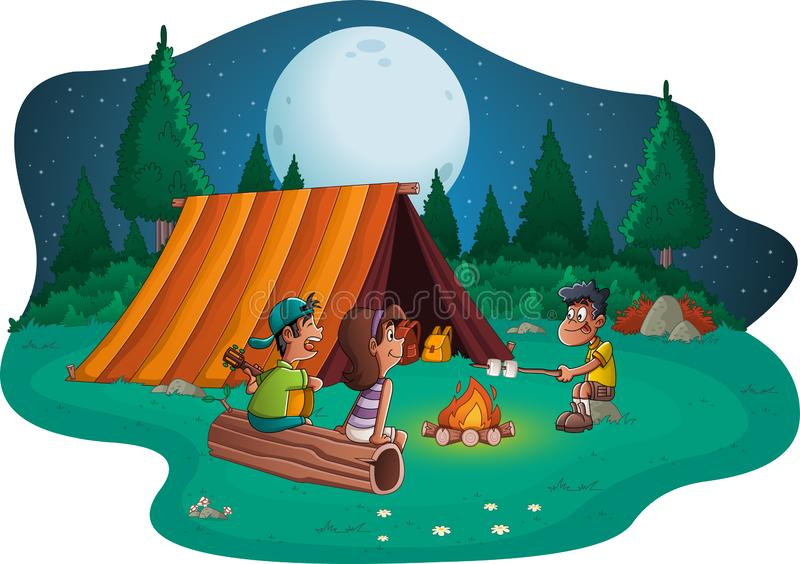 Group of cartoon children around a campfire. Camping with kids and tent. stock illustration
