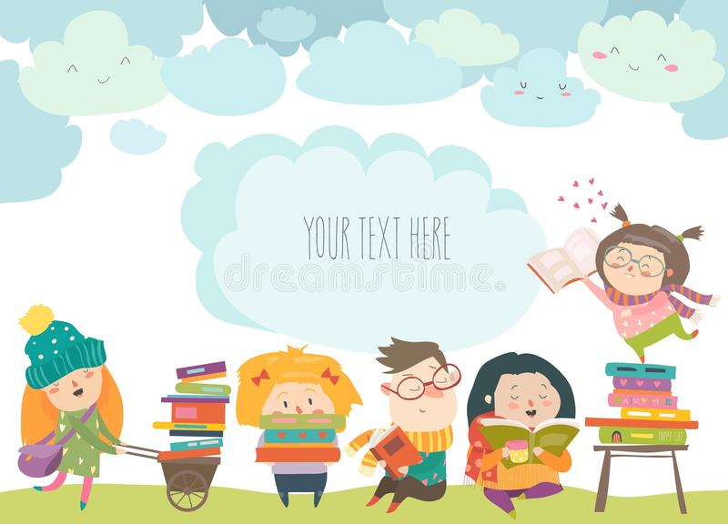 Group of cartoon children reading books royalty free illustration