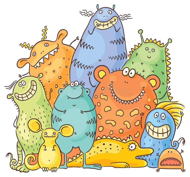 Group of Cartoon Colorful Monsters stock illustration