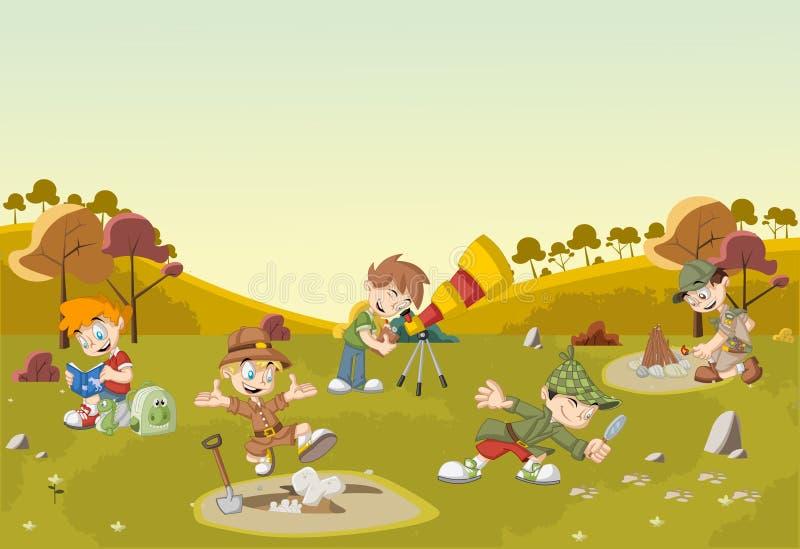 Group of cartoon explorer boys on green field vector illustration