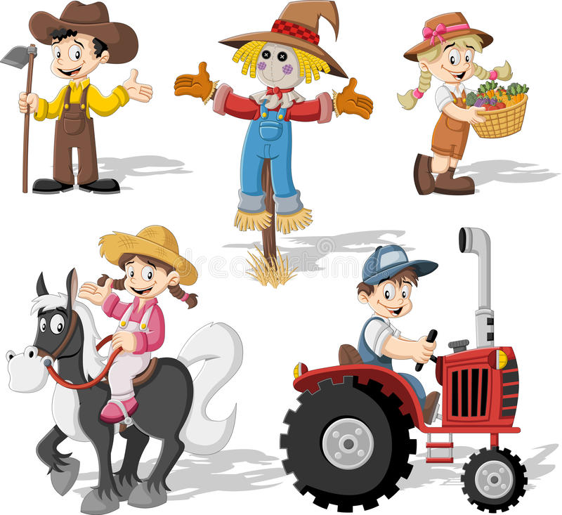 Group of cartoon farmers. Working vector illustration