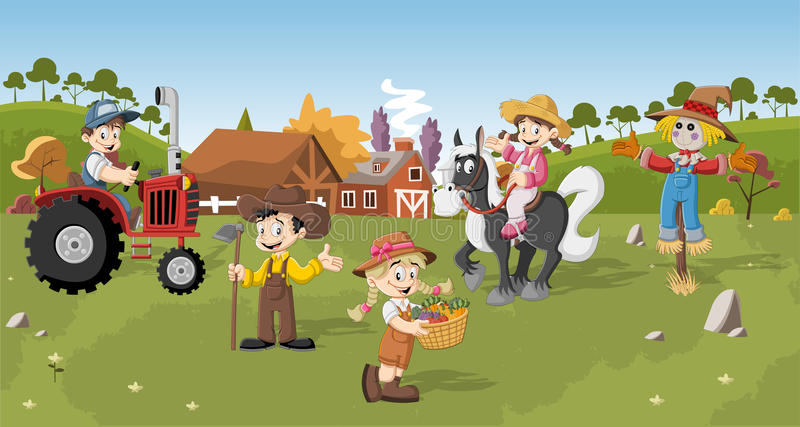 Group of cartoon farmers. Working royalty free illustration