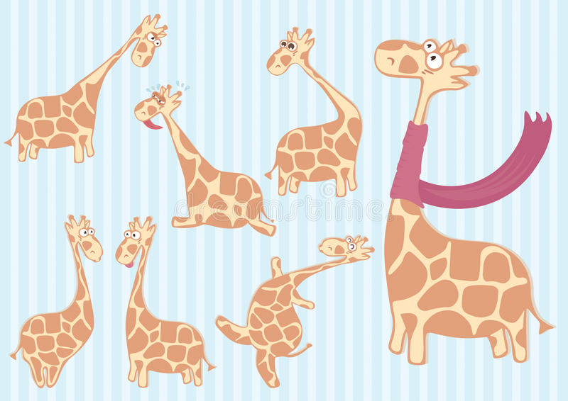 Group of cartoon giraffe with different emotions. royalty free illustration