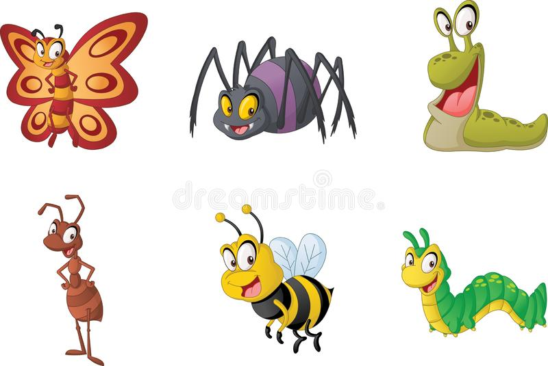Group of cartoon insects. Vector illustration of funny happy small animals. stock illustration