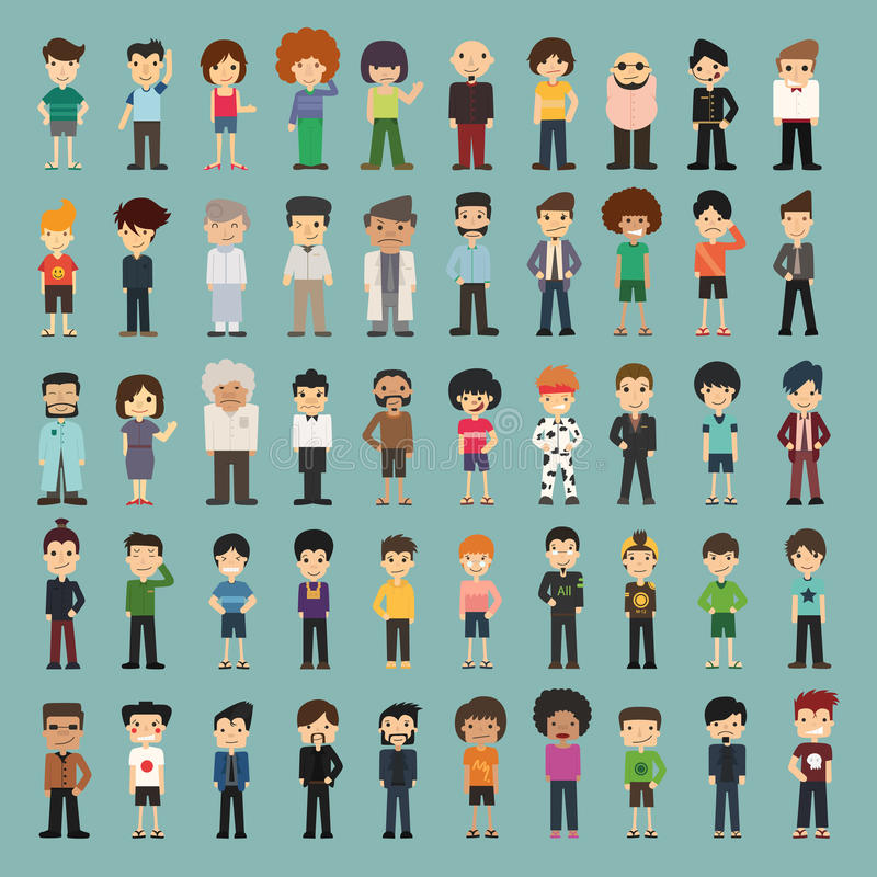Download Group cartoon people stock vector. Image of emotion, communication - 42052420