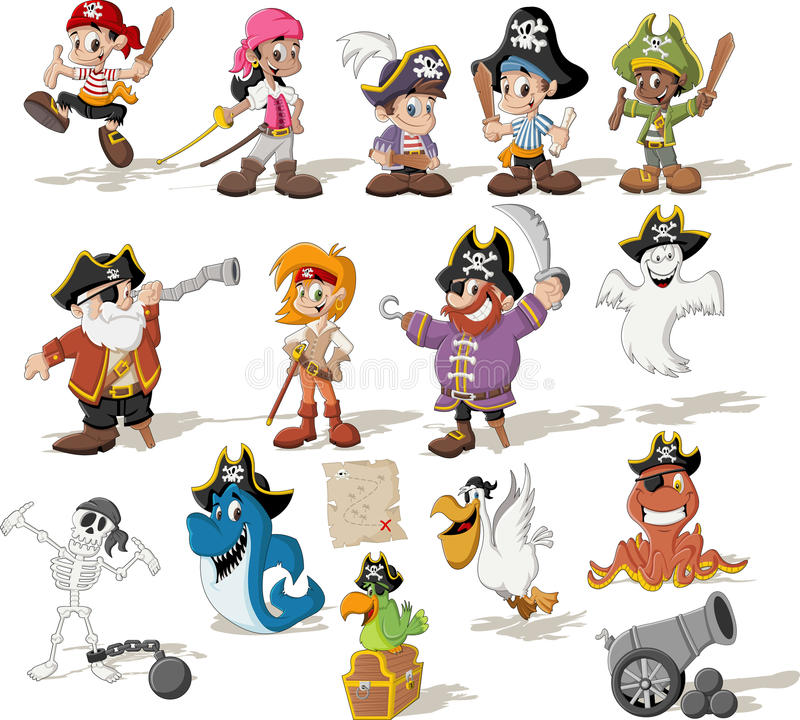 Group of cartoon pirates. With funny animals