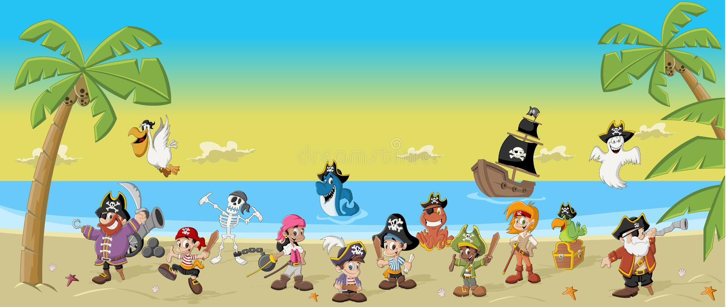 Group of cartoon pirates stock illustration