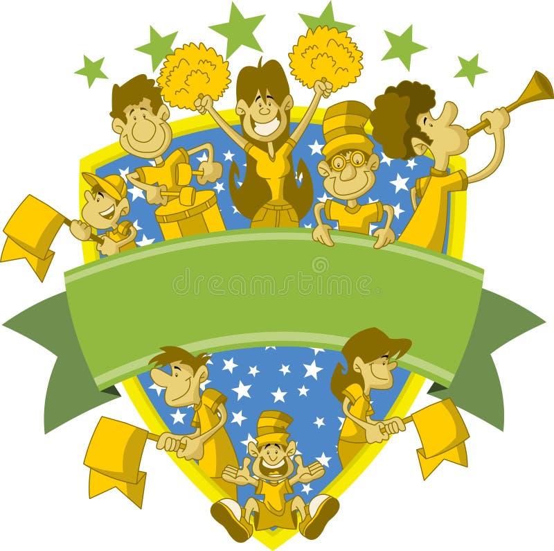 Group of cartoon sport fans stock illustration