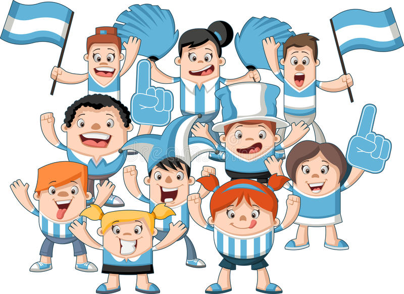Group Of Cartoon Sport Fans Stock Vector - Illustration of ...