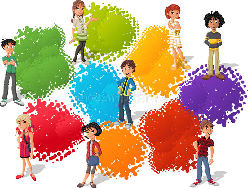 Group Of Cartoon Teenagers Royalty Free Stock Photography