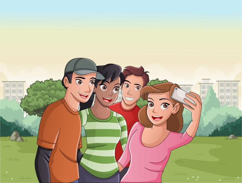 Group of cartoon young people taking selfie photo in the park. stock illustration