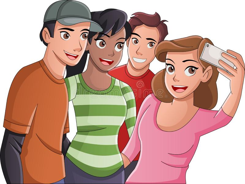 Group of cartoon young people taking selfie photo. Picture of teenagers. stock illustration