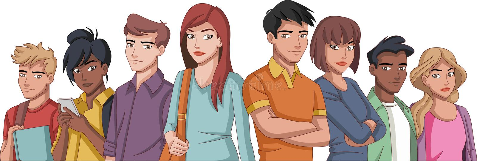 Group of cartoon young people royalty free illustration