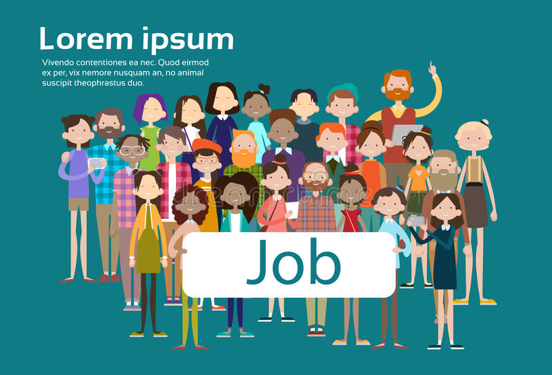 Group Casual People Crowd Ethnic Mix Race Businesspeople Search Job Umployment. Flat Vector illustration vector illustration