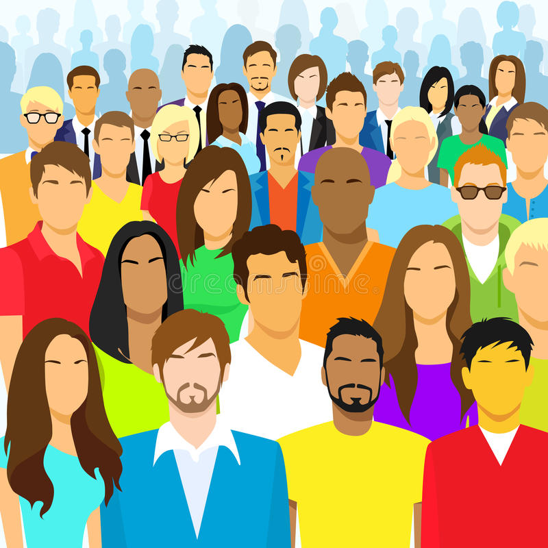 Group of Casual People Face Big Crowd Diverse vector illustration