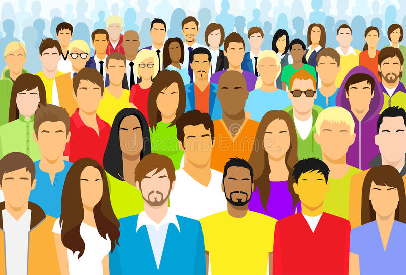 Group of Casual People Face Big Crowd Diverse royalty free illustration