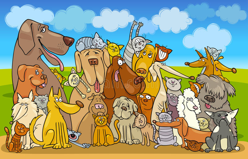 Group of Cats and Dogs royalty free illustration