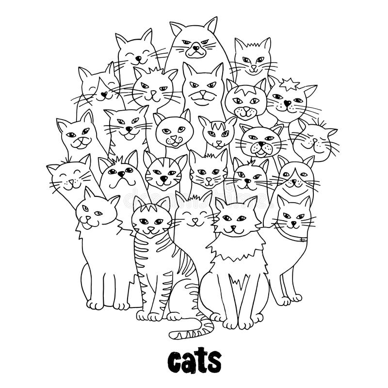 Group of cats. Group of hand drawn cats, standing in a circle, black and white stock illustration