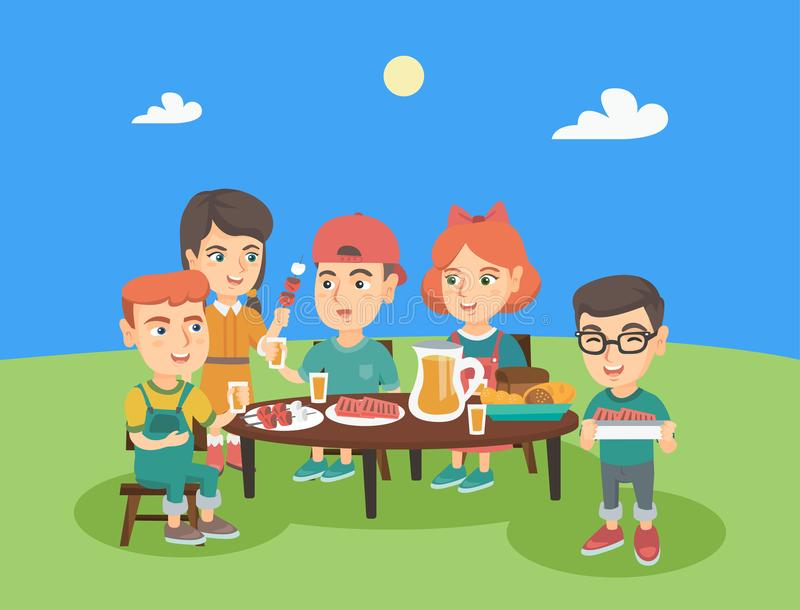 Group of caucasian children having fun at picnic. stock illustration