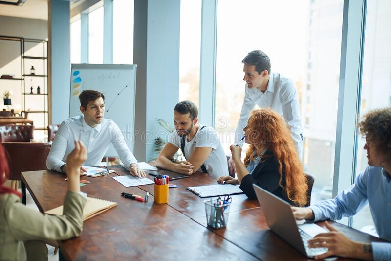 A group of caucasian people at the business conference stock images