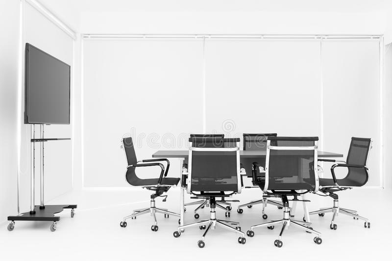Group of chaira around table in meeting room royalty free stock images