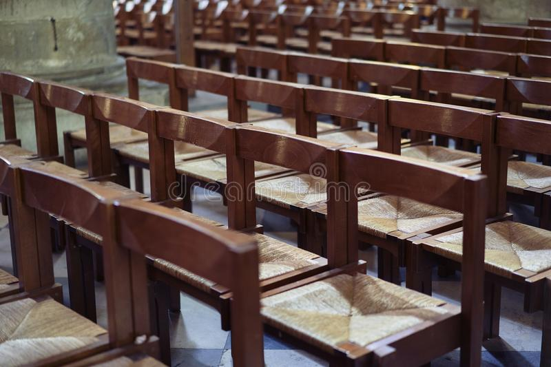 Chairs into a church royalty free stock photo
