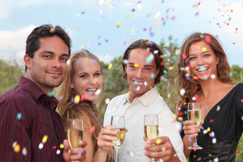 Group champagne toast at party or wedding royalty free stock photos