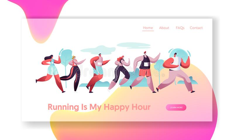 Group of Characters Running Marathon Distance in Raw. Sport Jogging Competition. Athlete Sprinters Sportsmen and Sportswomen. Website Landing Page, Web Page royalty free illustration