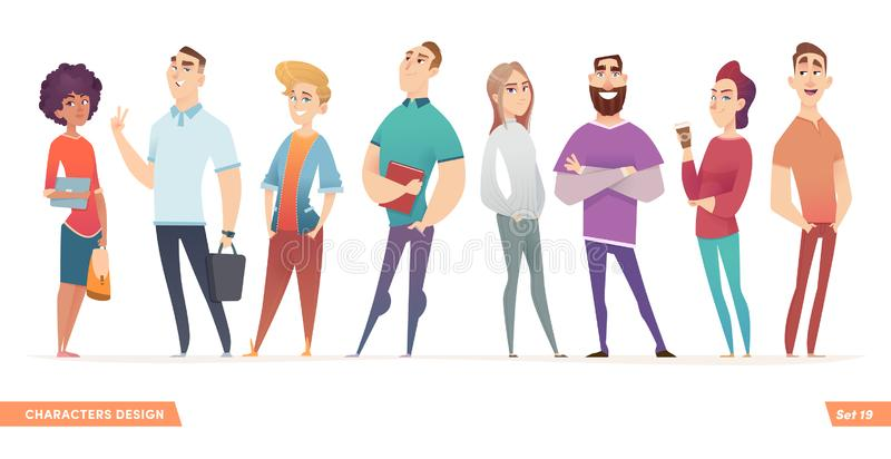 Group of charismatic smiling young people standing together. People and students,  young professionals collection. Cartoon characters design for your projects vector illustration