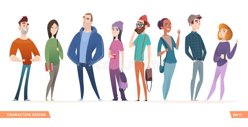 Group of charismatic smiling young people standing together. People and students,  young professionals collection. Cartoon characters design for your projects stock illustration