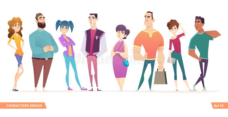 Group of charismatic smiling young people standing together. People and students,  young professionals collection. Cartoon characters design for your projects royalty free illustration