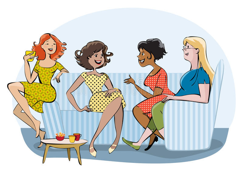 Group of a chatting women. Vector cartoon of a group of women chatting and drinking coffee royalty free illustration