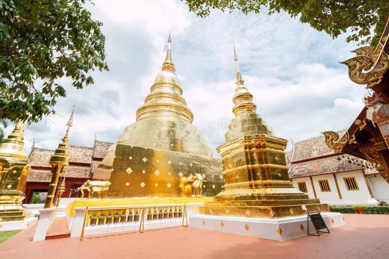 Group of Chedi. Stupa at Wat Phra Singh, Chiang mai, Thailand royalty free stock image