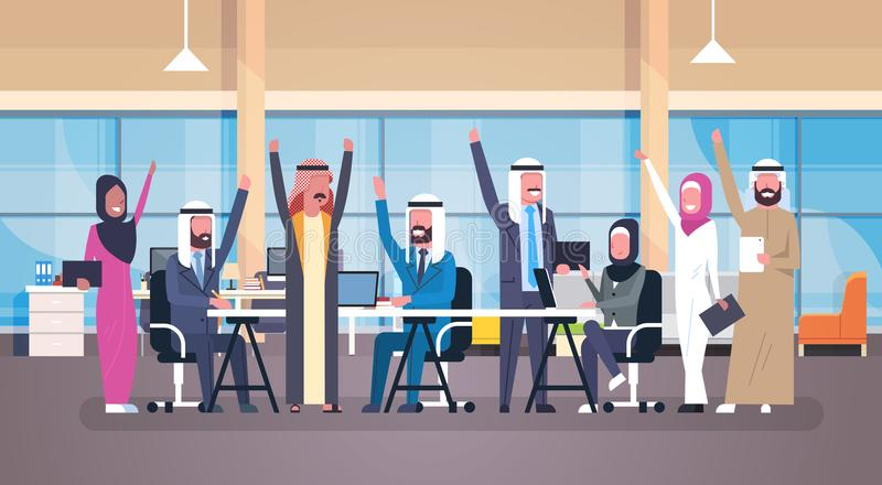 Group Of Cheerful Arabic Business People Happy Hold Raised Hands Sitting Together At Office Desk Muslim Workers Team royalty free illustration
