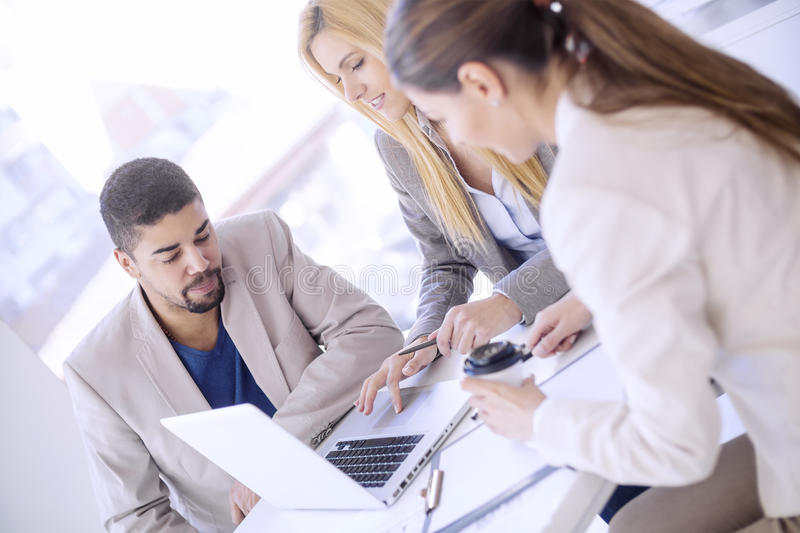 Group of cheerful business people stock photo