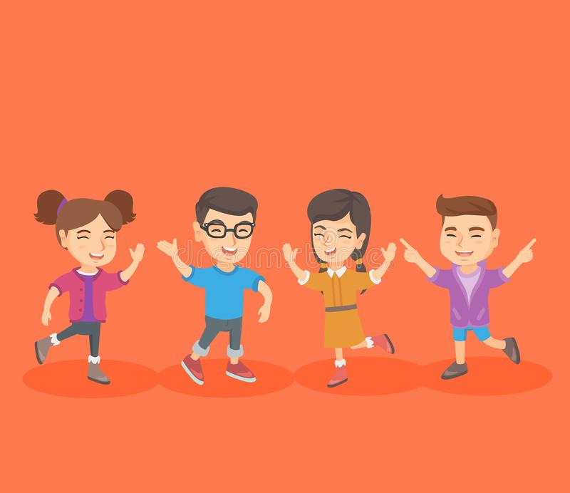 Group of caucasian children jumping and dancing. stock illustration