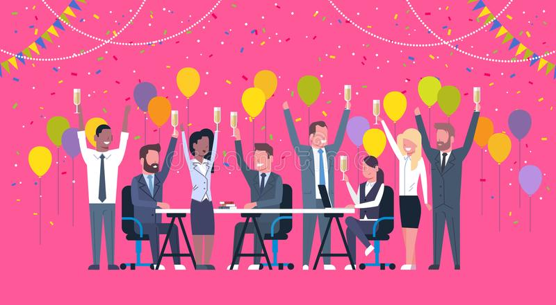 Group Of Cheerful Diverse Business People Celebration Success Happy Mix Race Team Hold Raised Hands Sitting At Decorated stock illustration
