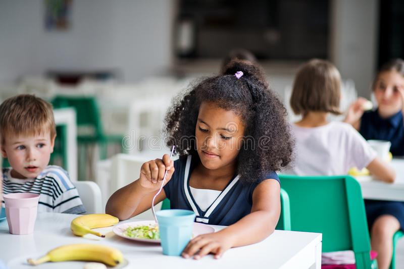 A group of cheerful small school kids in canteen, eating lunch. stock photo