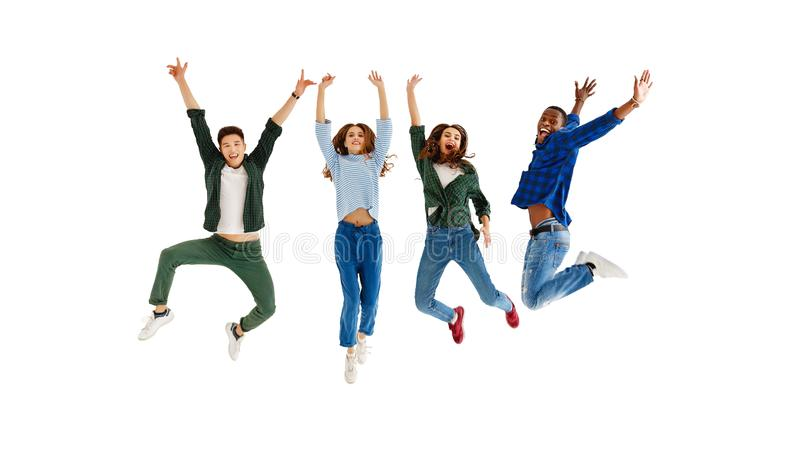 Group of cheerful young people men and women isolated on white background stock photo
