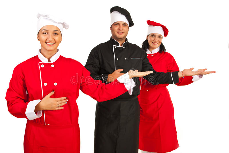 Download Group Of Chefs Making Presentation Stock Photo - Image: 34066944