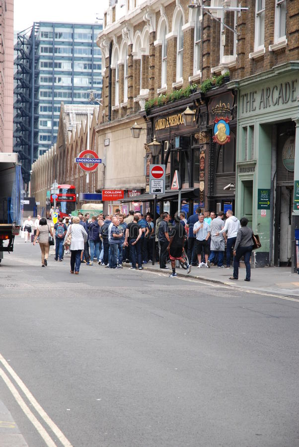 Group of Chelsea fans royalty free stock photography