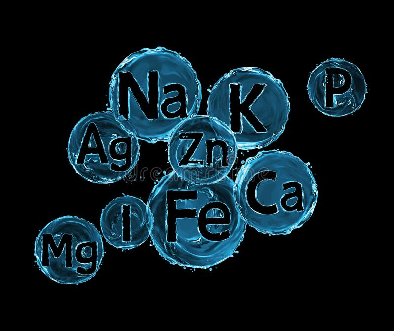 Group of chemical minerals and microelements on black background. Argentum, Ferrum, Kalium,Calcium, Natrium, Magnesium,Phosphorus,Iodum,Zincum royalty free illustration