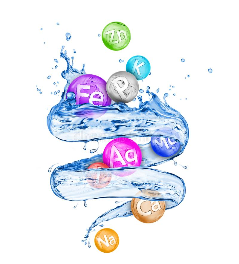 Group of chemical minerals and microelements with fresh water. In a swirling shape on white background vector illustration