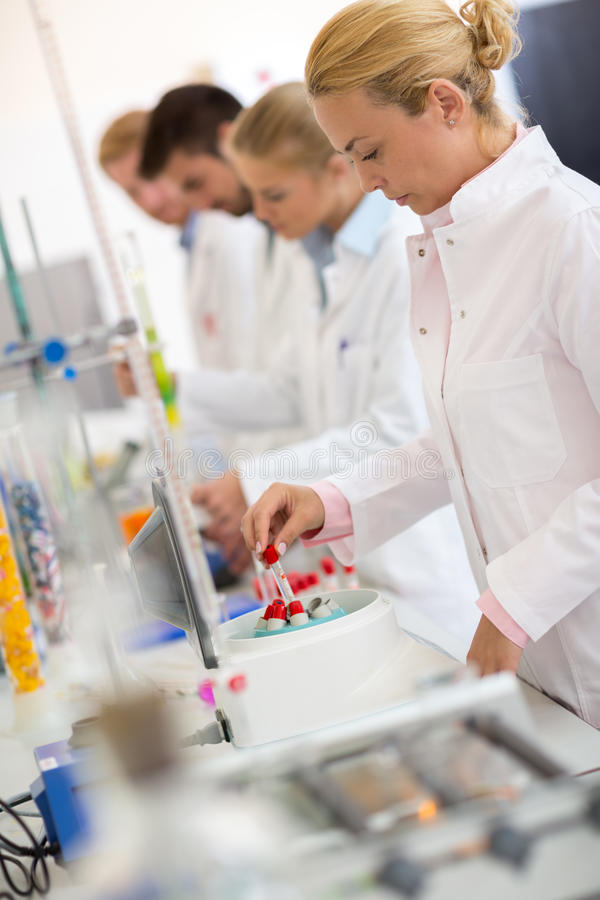 Group of chemical technicians work with test tubes in lab. Group of young technicians work with test tubes in laboratory royalty free stock images
