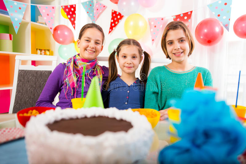Group of child happy birthday party. Selective focus stock images