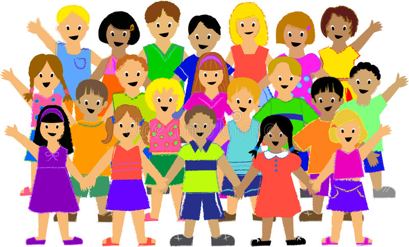 Group of Children. Illustration of a large group of colorfully dressed, ethnically diverse children, drawn in rough crayon style. Other illustrations with stock illustration