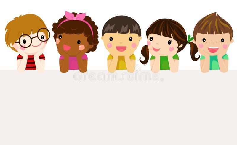 Group of children and banner vector illustration