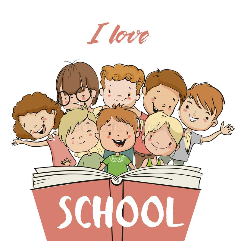 Group of children with book. Group of cute children with book vector illustration